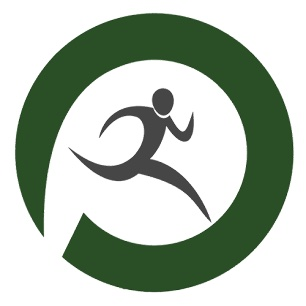 Running person illustration in green circle